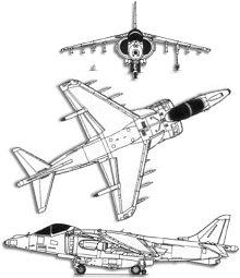 Plan 3 vues du McDonnell-Douglas AV-8B Harrier II