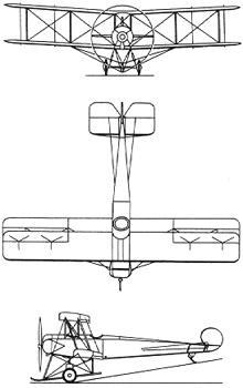 Plan 3 vues du Avro 504