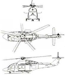 Plan 3 vues du Agusta-Westland AW.139