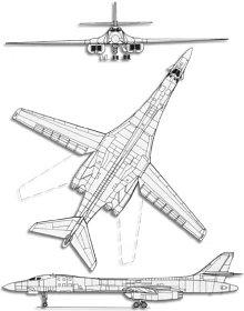 Plan 3 vues du Rockwell B-1 Lancer