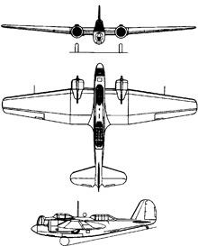 Plan 3 vues du Martin B-10