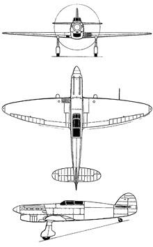 Plan 3 vues du Avia B.35/B.135