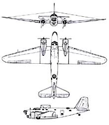 Plan 3 vues du Douglas B-18 Bolo
