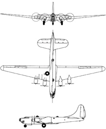 Plan 3 vues du Douglas B-19