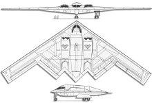 Plan 3 vues du Northrop B-2 Spirit