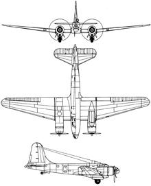 Plan 3 vues du Douglas B-23 Dragon
