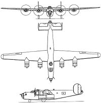 Plan 3 vues du Consolidated B-24 Liberator
