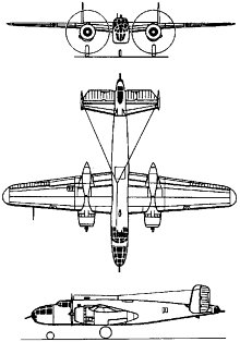Plan 3 vues du North American B-25 Mitchell