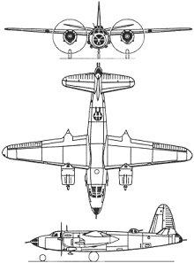 Plan 3 vues du Martin B-26 Marauder