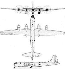 Plan 3 vues du Boeing B-29 Superfortress