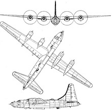 Plan 3 vues du Consolidated B-32 Dominator