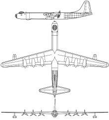 Plan 3 vues du Convair B-36 Peacemaker