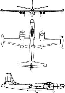 Plan 3 vues du North American B-45 Tornado