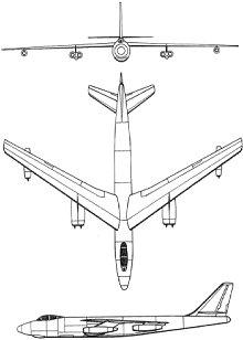 Plan 3 vues du Boeing B-47 Stratojet