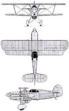 Plan 3 vues du Avia B.534