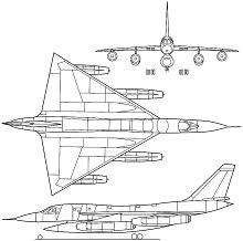 Plan 3 vues du Convair B-58 Hustler