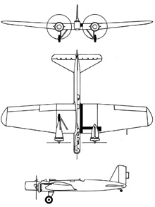 Plan 3 vues du Boeing B-9