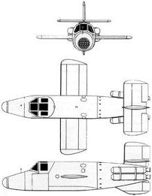 Plan 3 vues du Bachem Ba 349 Natter