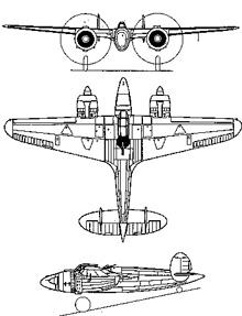 Plan 3 vues du Breda Ba.88 Lince