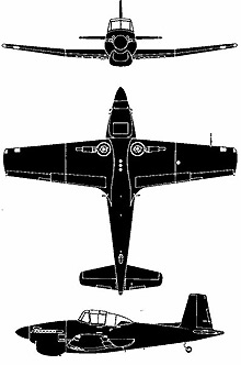 Plan 3 vues du Boulton Paul P-108 Balliol / Sea Balliol