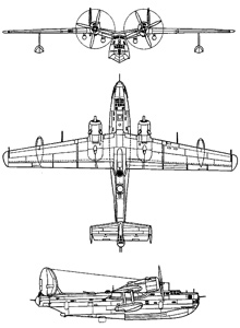 Plan 3 vues du Beriev Be-6 'Madge'