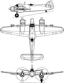 Plan 3 vues du Bristol  Beaufighter