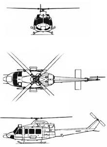 Plan 3 vues du Bell 412 / CH-146 Griffon