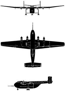 Plan 3 vues du Blackburn B-101 Beverley