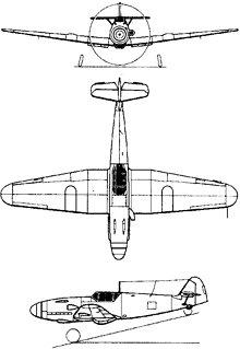 Plan 3 vues du Messerschmitt Bf 109