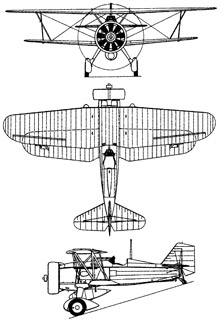 Plan 3 vues du Curtiss BFC/BF2C Goshawk