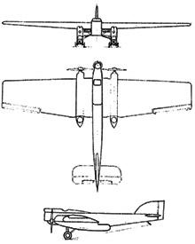 Plan 3 vues du Blériot 127