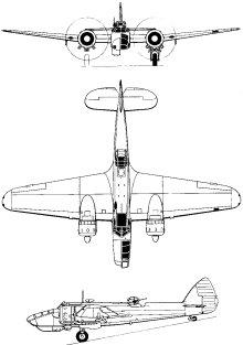 Plan 3 vues du Bristol  Blenheim
