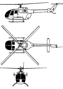 Plan 3 vues du M.B.B. Bö 105