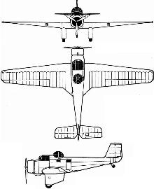 Plan 3 vues du FMA AeMB.2 Bombi