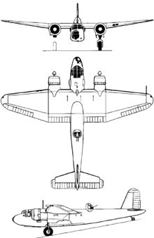 Plan 3 vues du Blackburn B-26 Botha