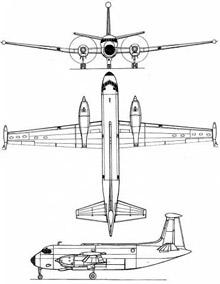 Plan 3 vues du Breguet Br.1150 Atlantic