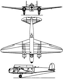 Plan 3 vues du Fiat Br.20 Cicogna