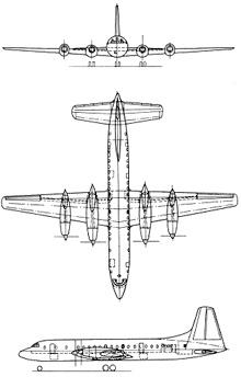 Plan 3 vues du Bristol Britannia