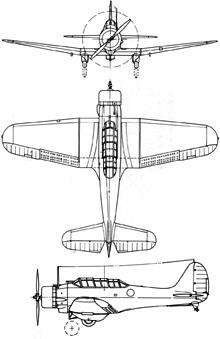 Plan 3 vues du Northrop BT-1