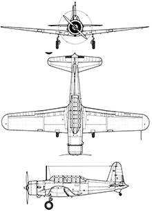 Plan 3 vues du Vultee BT-13 / SNV Valiant