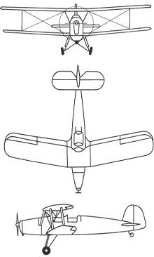 Plan 3 vues du Bücker Bu 131 Jungmann