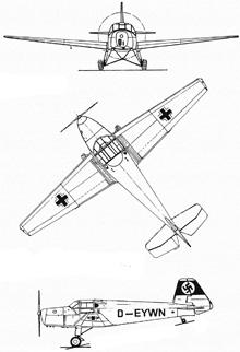 Plan 3 vues du Bücker Bu 181 Bestmann