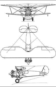 Plan 3 vues du Bristol  Bulldog
