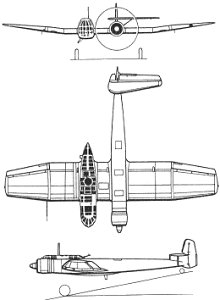Plan 3 vues du Blohm und Voss Bv 141 Assymmetric