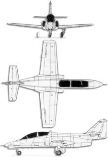 Plan 3 vues du CASA C-101 Aviojet 'Mirlo'