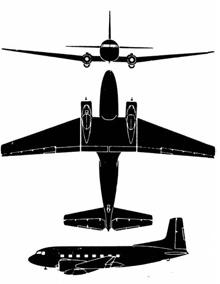 Plan 3 vues du Douglas C-117 / R4D-8