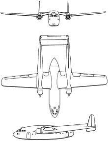Plan 3 vues du Fairchild C-119 Flying Boxcar