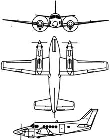 Plan 3 vues du Beechcraft C-12 Huron