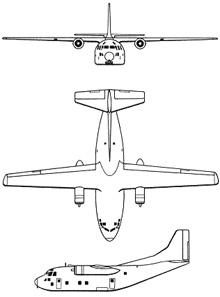 Plan 3 vues du Fairchild C-123 Provider