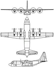 Plan 3 vues du Lockheed C-130 Hercules